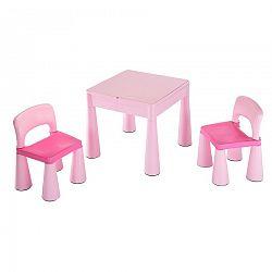 Detská sada stolček a dve stoličky NEW BABY ružová