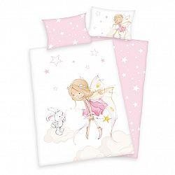 Herding Detské bavlnené obliečky do postieľky Víla a zajačik, 100 x 135 cm, 40 x 60 cm