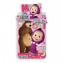 Jerry Fabrics Detské bavlnené obliečky Máša a medvěd Rainbow, 140 x 200 cm, 70 x 90 cm