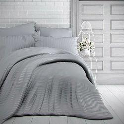 Kvalitex Saténové obliečky Stripe svetlosivá, 220 x 200 cm, 2 ks 70 x 90 cm